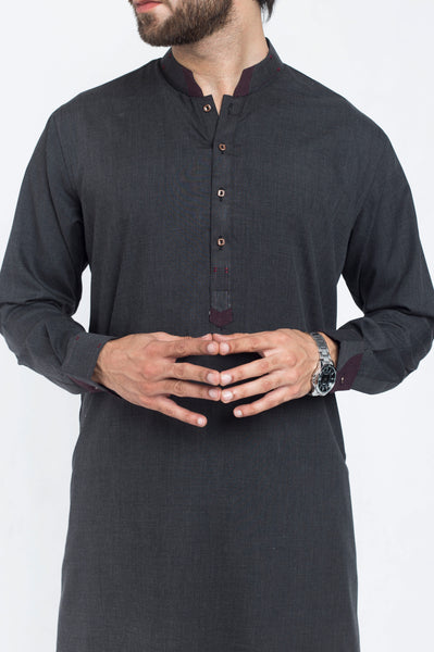 Charcoal Grey Shalwar Qameez Suit. RQ-39402