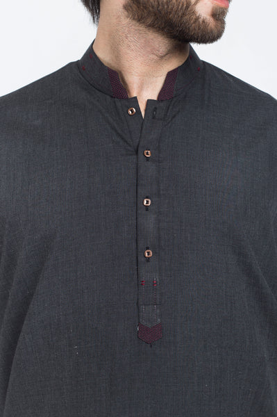 Image of Men Men Shalwar Qameez Charcoal Grey Shalwar Qameez Suit. RQ-39402