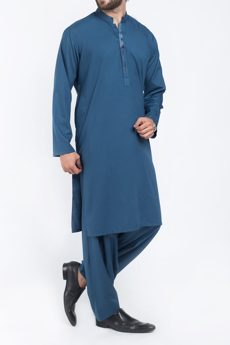Image of Men Men Shalwar Qameez in Egyptian Blue SKU: RQ-39407-Small-Egyptian Blue