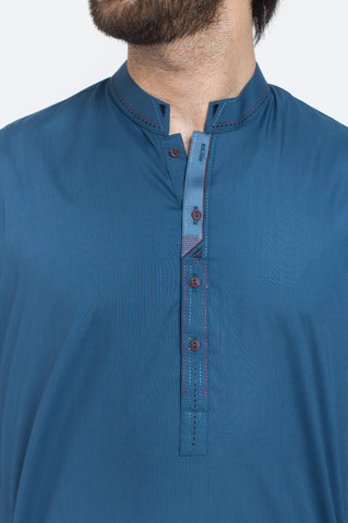 Egyptian Blue Shalwar Qameez Suit. RQ-39407