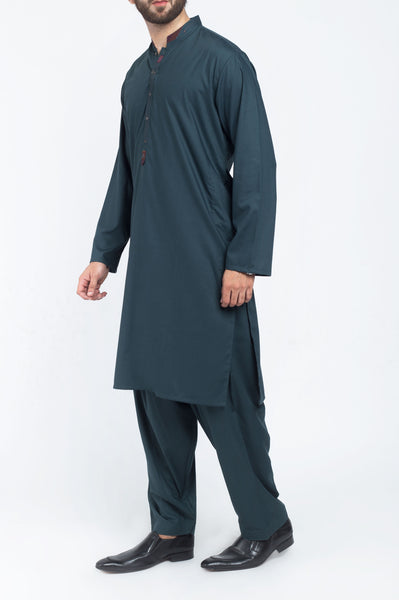 Turkish Green Shalwar Qameez Suit. RQ-39408