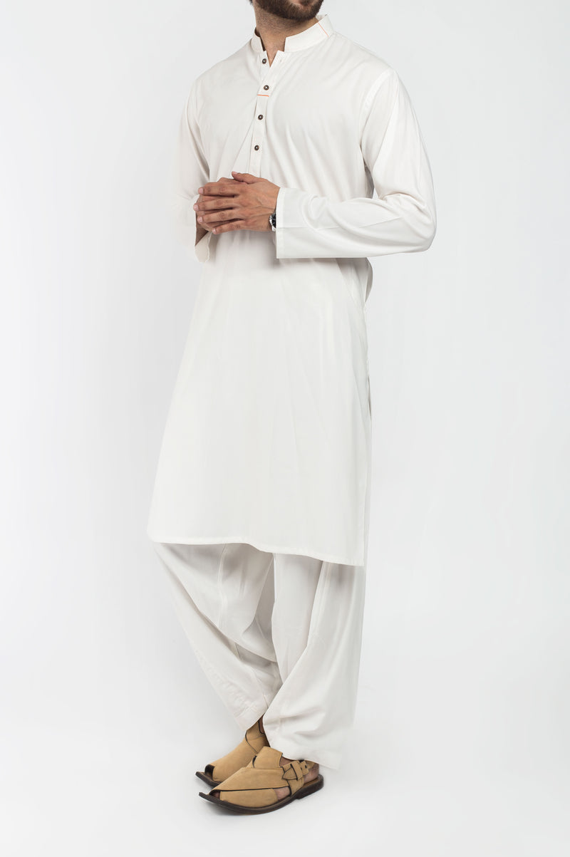 Image of Men Men Shalwar Qameez in Off White SKU: RQ-39409-Small-Off White
