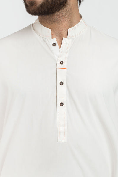 Image of Men Men Shalwar Qameez Off White Shalwar Qameez Suit. RQ-39409