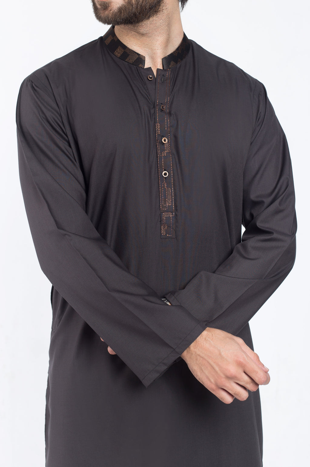 Blackish Grey Shalwar Qameez Suit. RQ-39410