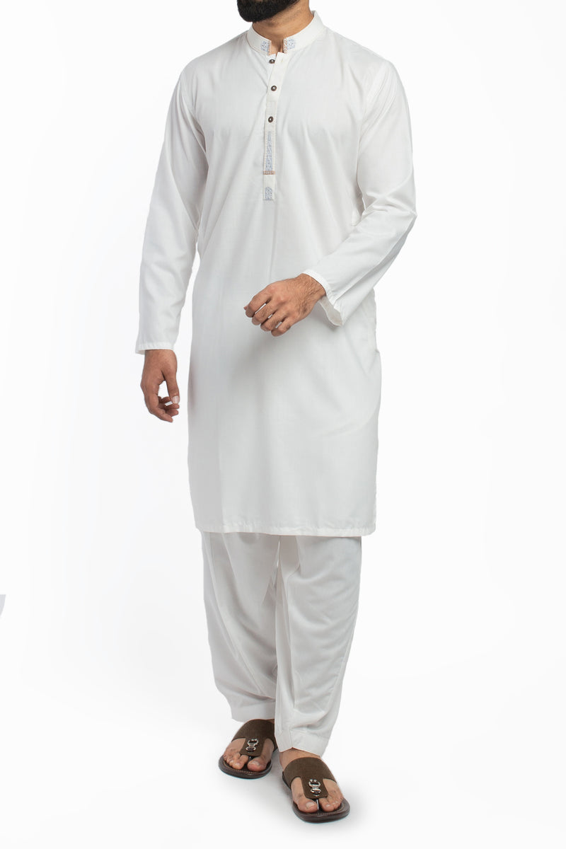 Image of Men Men Shalwar Qameez in Off White SKU: RQ-39412-Small-Off White