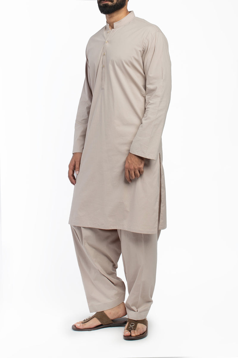 Image of Men Men Shalwar Qameez in Fawn SKU: RQ-39425-Small-Fawn
