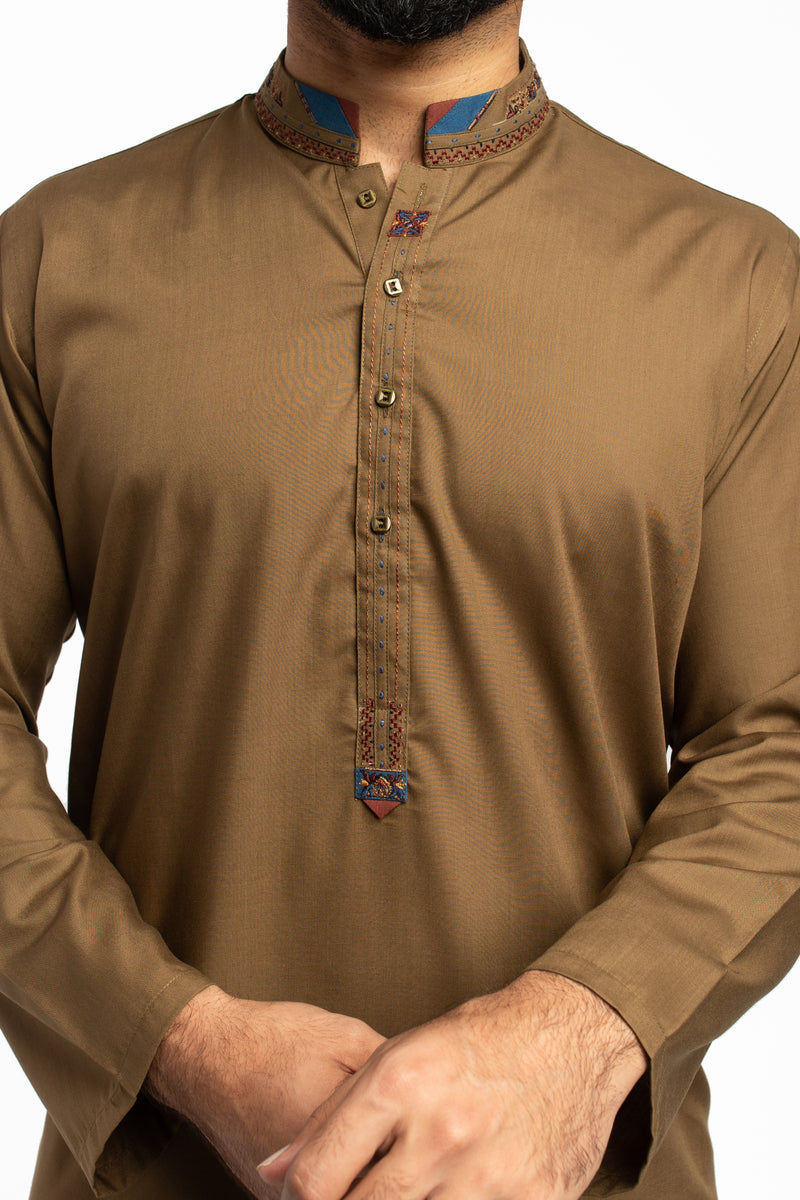 Image of Men Men Shalwar Qameez in Olive Green SKU: RQ-39499-Small-Olive Green