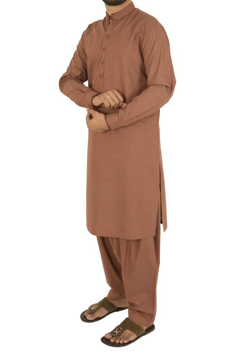 Image of Men Men Shalwar Qameez in Burnt Red SKU: RQ-40210-Small-Burnt Red
