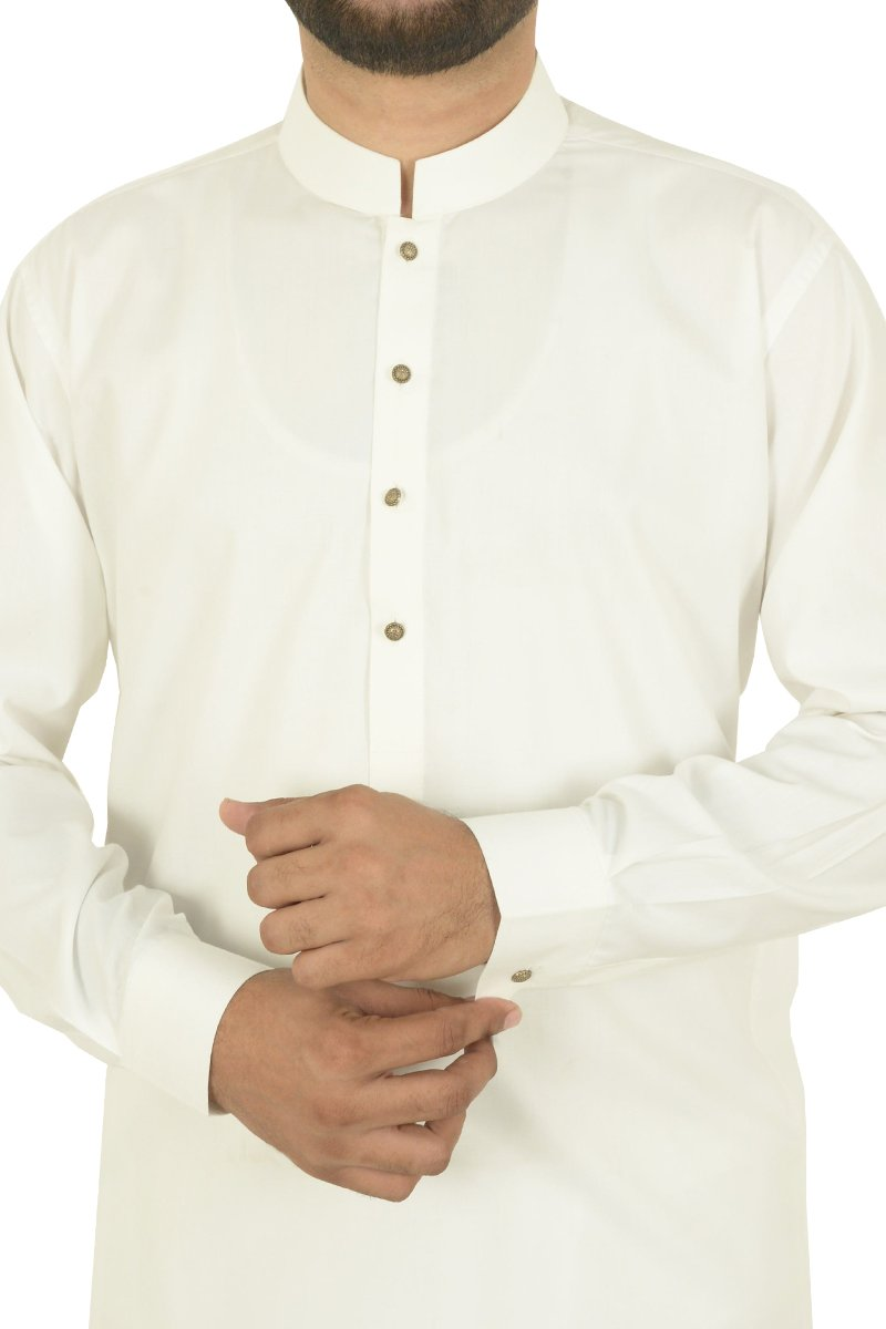 Image of Men Men Shalwar Qameez in Off White SKU: RQ-40304-Small-Off White