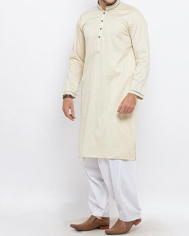 Image of Men Men Shalwar Qameez Lemon Grass Kurta with Thread and Applique WorkProduct Code RSK-15328