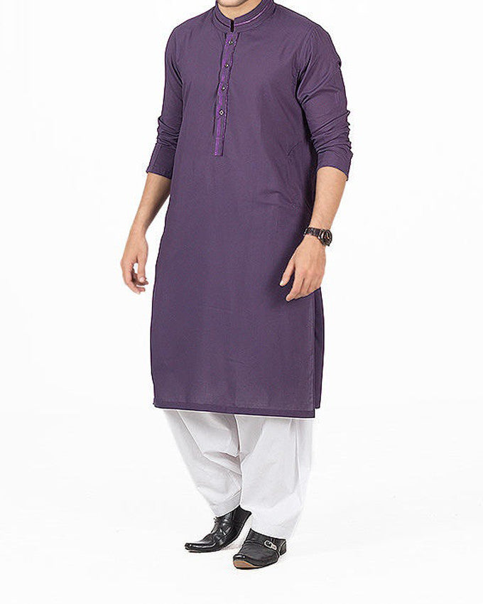 Royal Purple Kurta in Blended fabric with Applique work with Milky White Shalwar.  Product Code RSK-16145