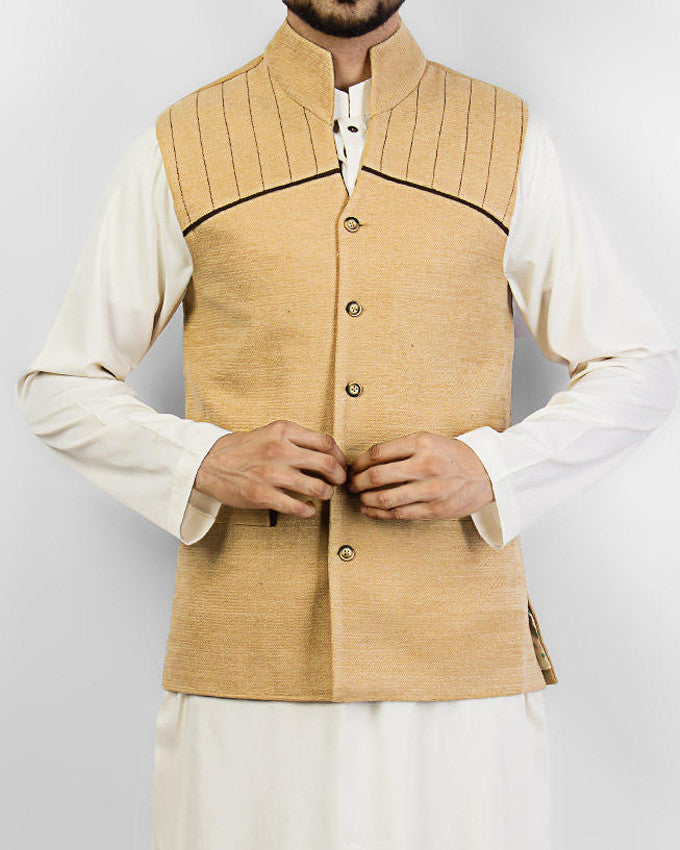 Image of Men Waist Coat Cordoba 1 - Cream colored designer waist coat in suiting fabric Product Code: RWC-001