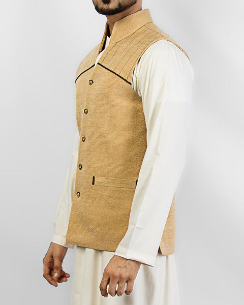 Cordoba 1 - Cream colored designer waist coat in suiting fabric Product Code: RWC-001
