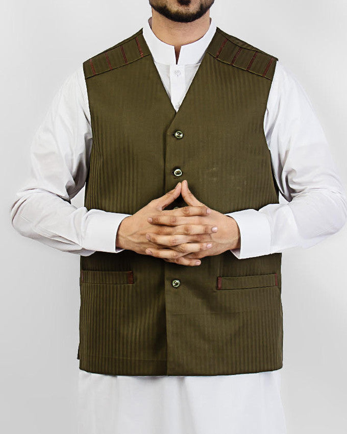 Image of Men Waist Coat Olive Green designer waist coat in suiting fabric Product Code: RWC-002