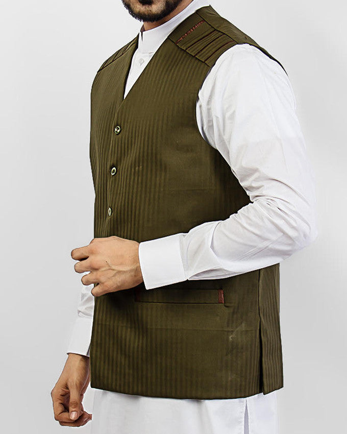 Olive Green designer waist coat in suiting fabric Product Code: RWC-002