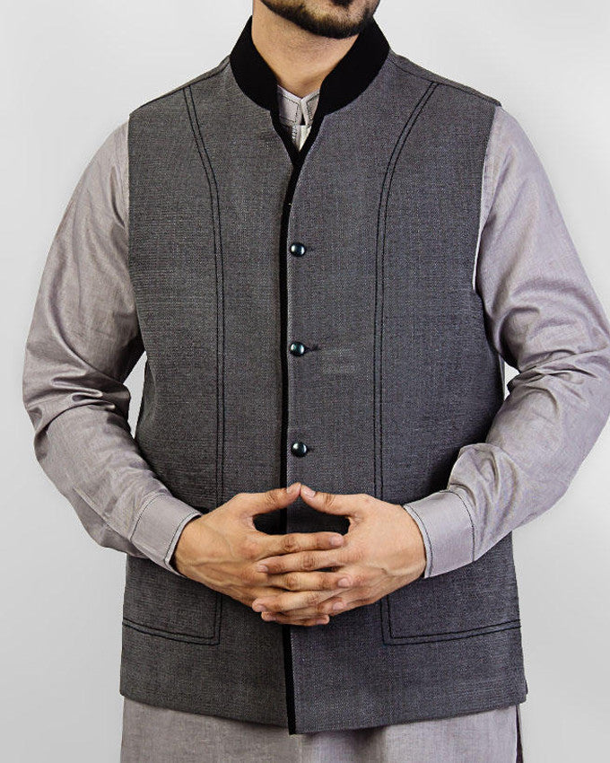 Image of Men Waist Coat Elegance 1 - Grey Colored designer waist coat in suiting fabric Product Code: RWC-003