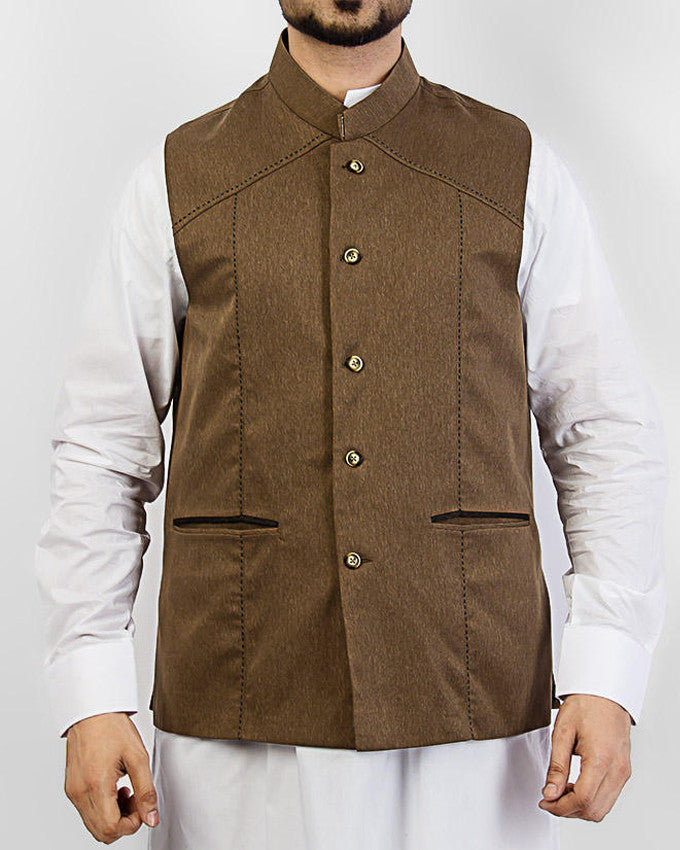 Image of Men Waist Coat Prime - Camel colored designer waist coat in suiting fabric Product Code: RWC-004