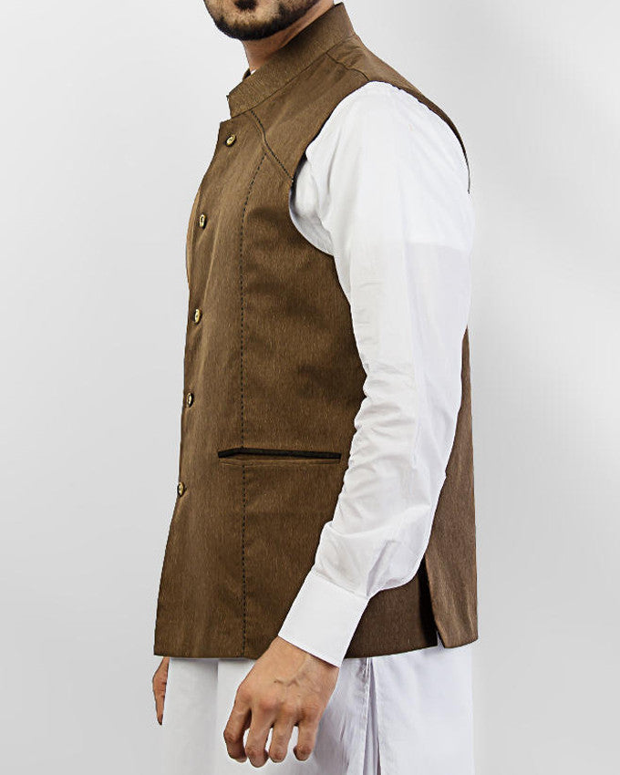 Prime - Camel colored designer waist coat in suiting fabric Product Code: RWC-004