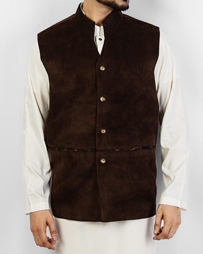 Cordoba 2 - Brown colored designer waist coat in suiting fabric Product Code: RWC-005