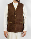 Image of Men Waist Coat Elegance 2 - Brown Colored designer waist coat in suiting fabric Product Code: RWC-006