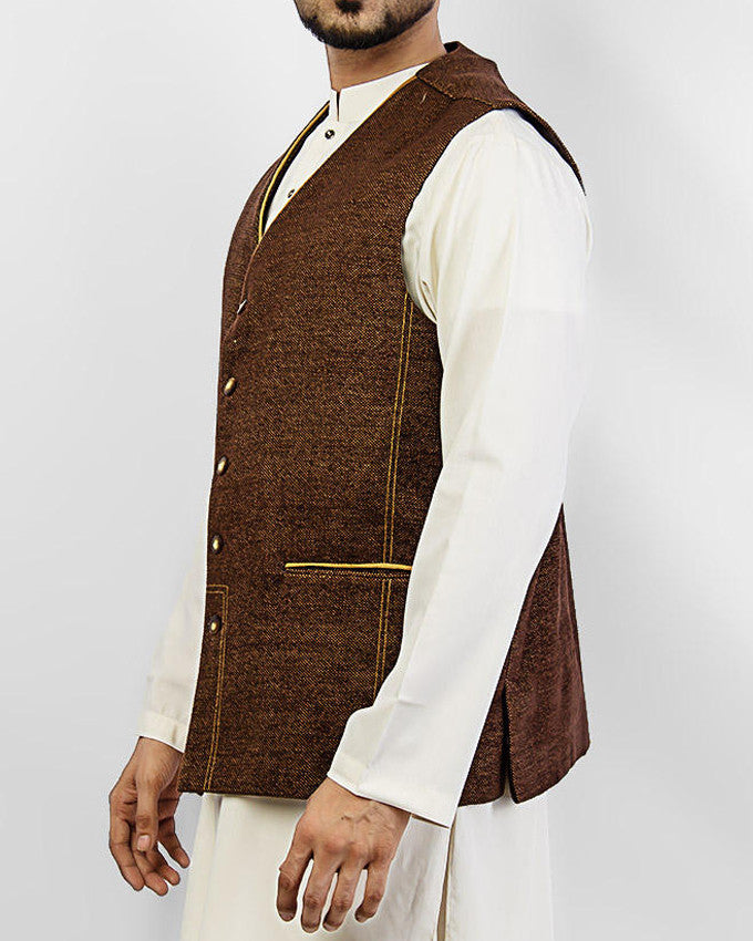 Elegance 2 - Brown Colored designer waist coat in suiting fabric Product Code: RWC-006