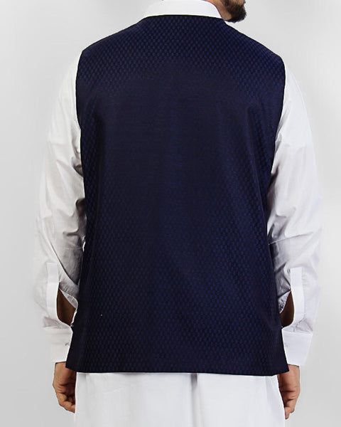 Sapphire Cut - Dark Blue designer waist coat in suiting fabric Product Code: RWC-007