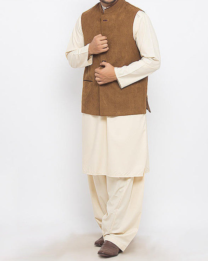 Image of Men Waist Coat Decent -1 Camel Brown Colored in Suiting Fabric Waist  Coat Product Code: RWC-008