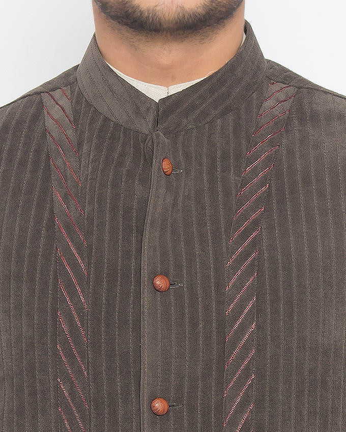 Corduroy Classic Charcoal Grey Colored in Suiting Fabric Waist Coat Product Code: RWC-009