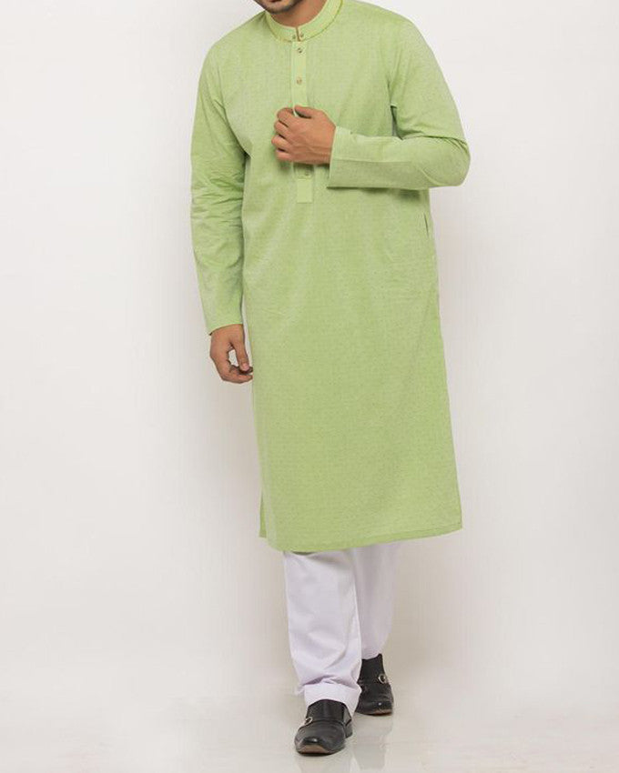 Image of Men Men Kurta in Yellow Green SKU: RK-15341-Small-Yellow Green
