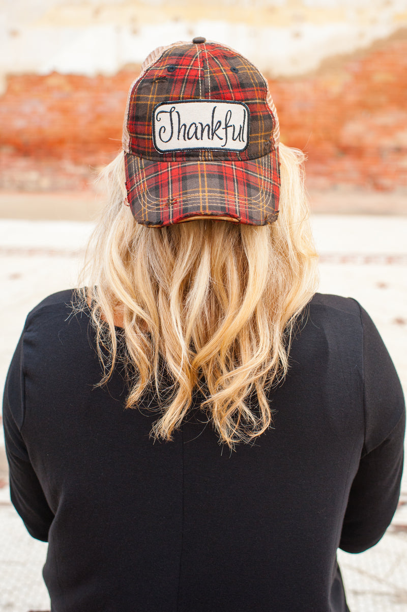 Thankful Plaid Vintage Distressed Hat