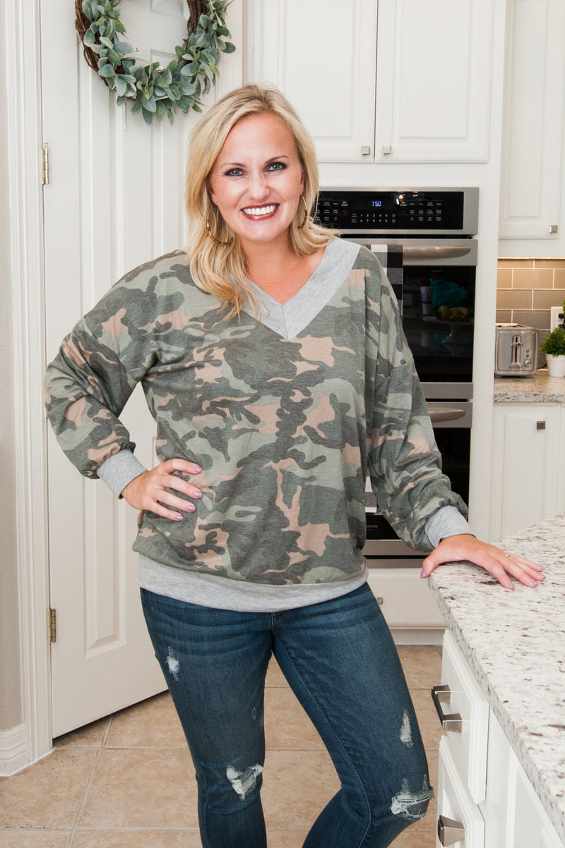 Gray Camo V-Neck Top