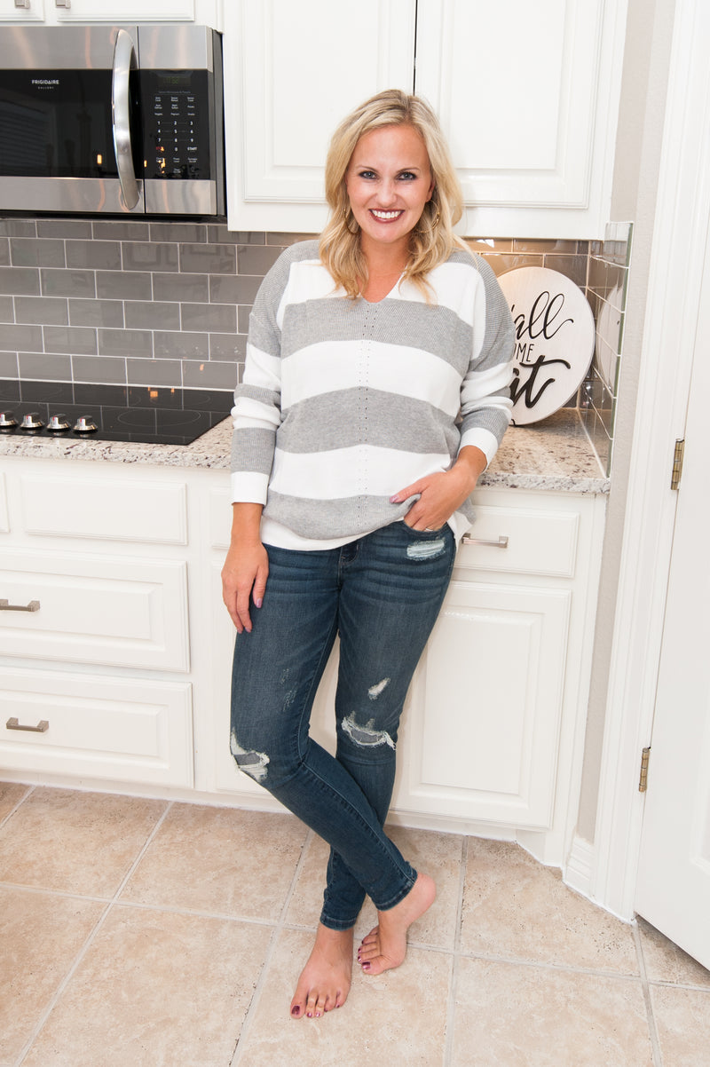 Gray Stripe Knit Sweater