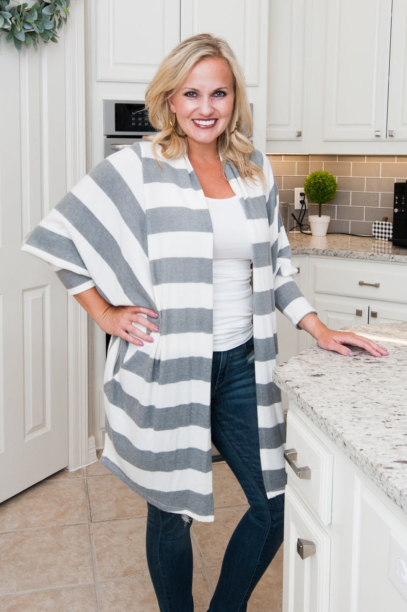 Gray Stripe Puff Sleeve Cardigan