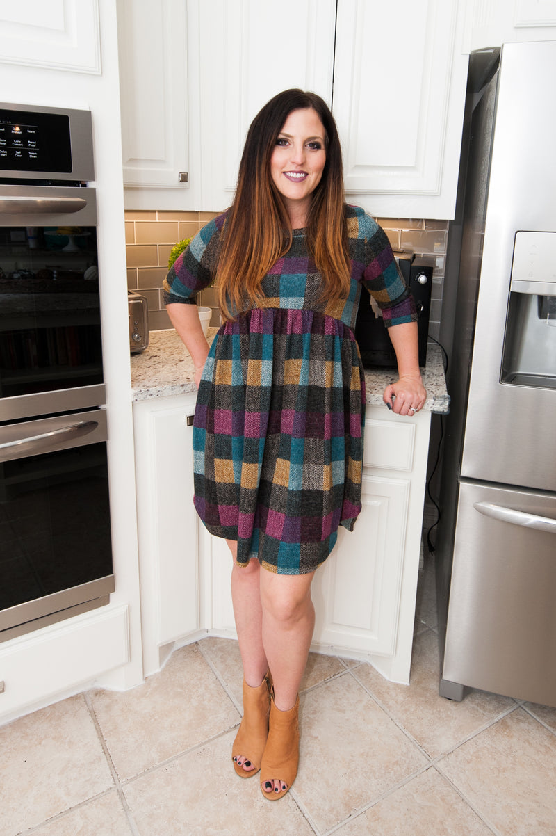 Fall Plaid Babydoll Dress