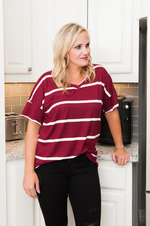 Maroon Stripe Top