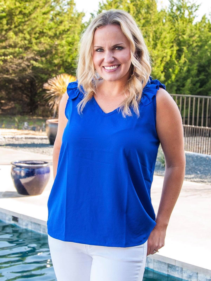 Sleeveless Ruffle Top in Blue