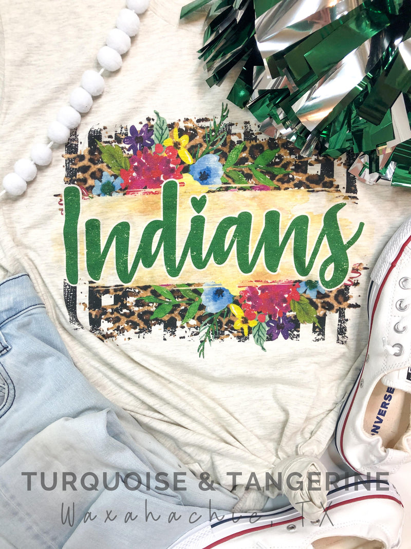 Floral Indians in Green T-Shirt PREORDER