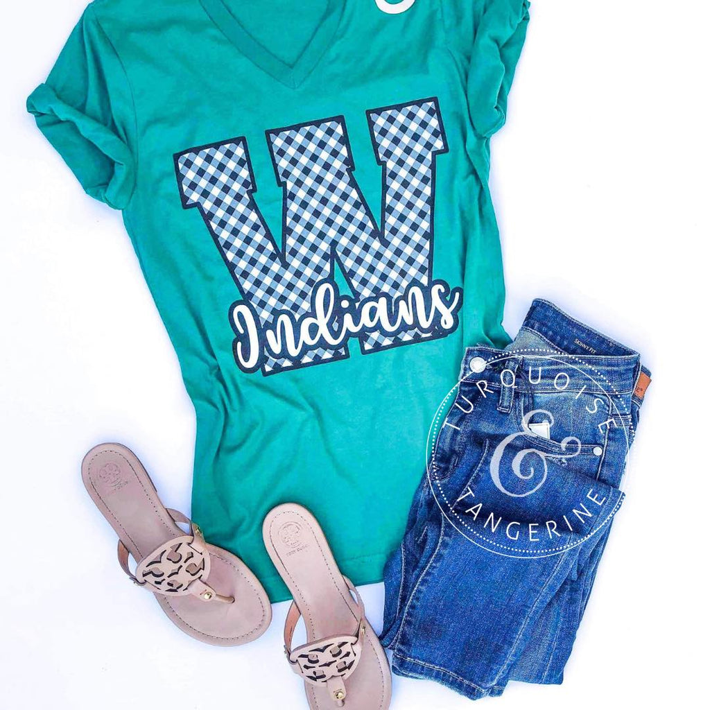 Gingham W Indians T-Shirt
