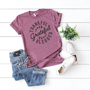 Thankful, Grateful, Blessed T-Shirt in Maroon
