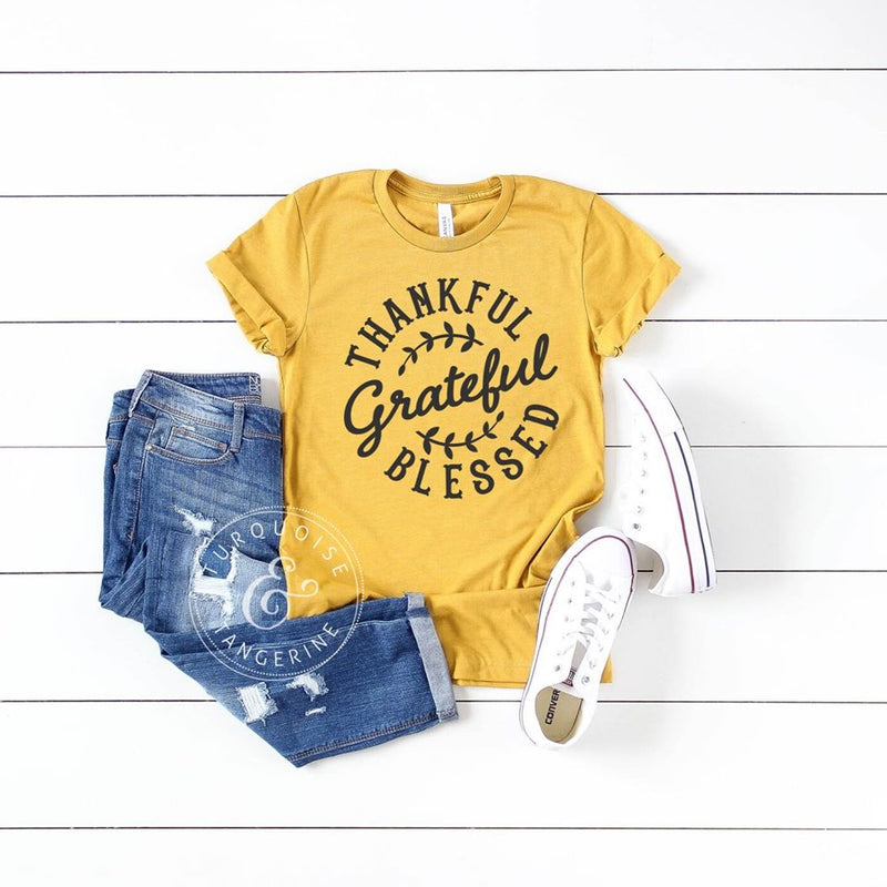 Thankful, Grateful, Blessed T-Shirt in Mustard