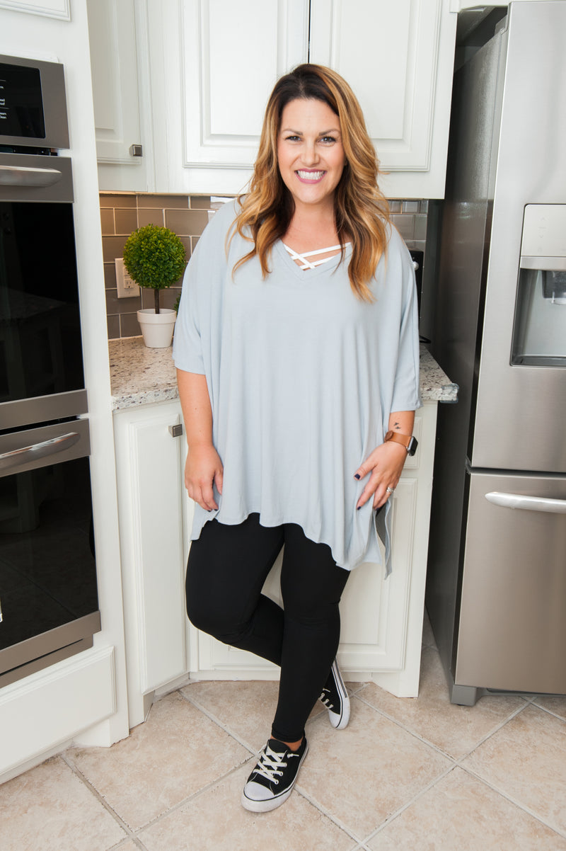 Oversized V-Neck Poncho in Gray