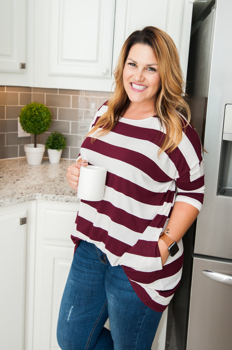 Maroon Stripe Over Sized Tunic Preorder