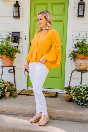 Yellow Ruffle Sleeve Top