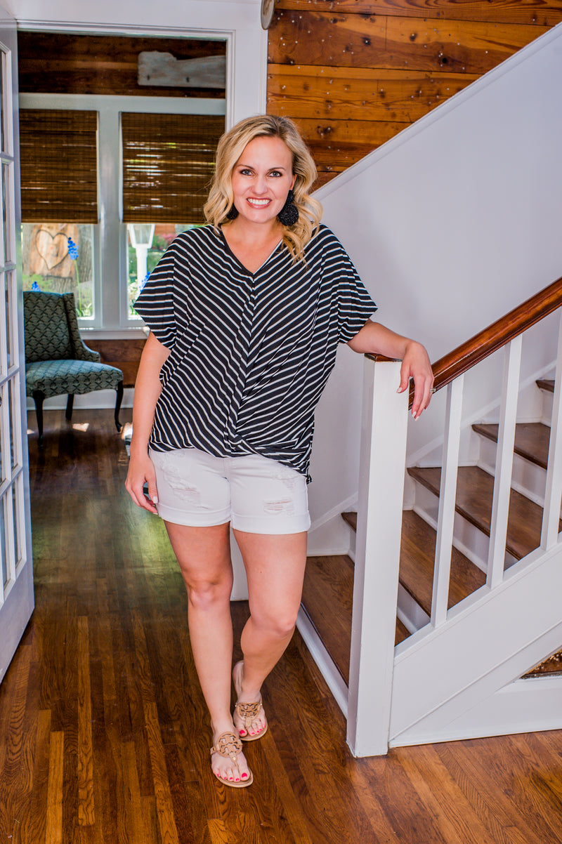 Black and White Stripe Twist Top