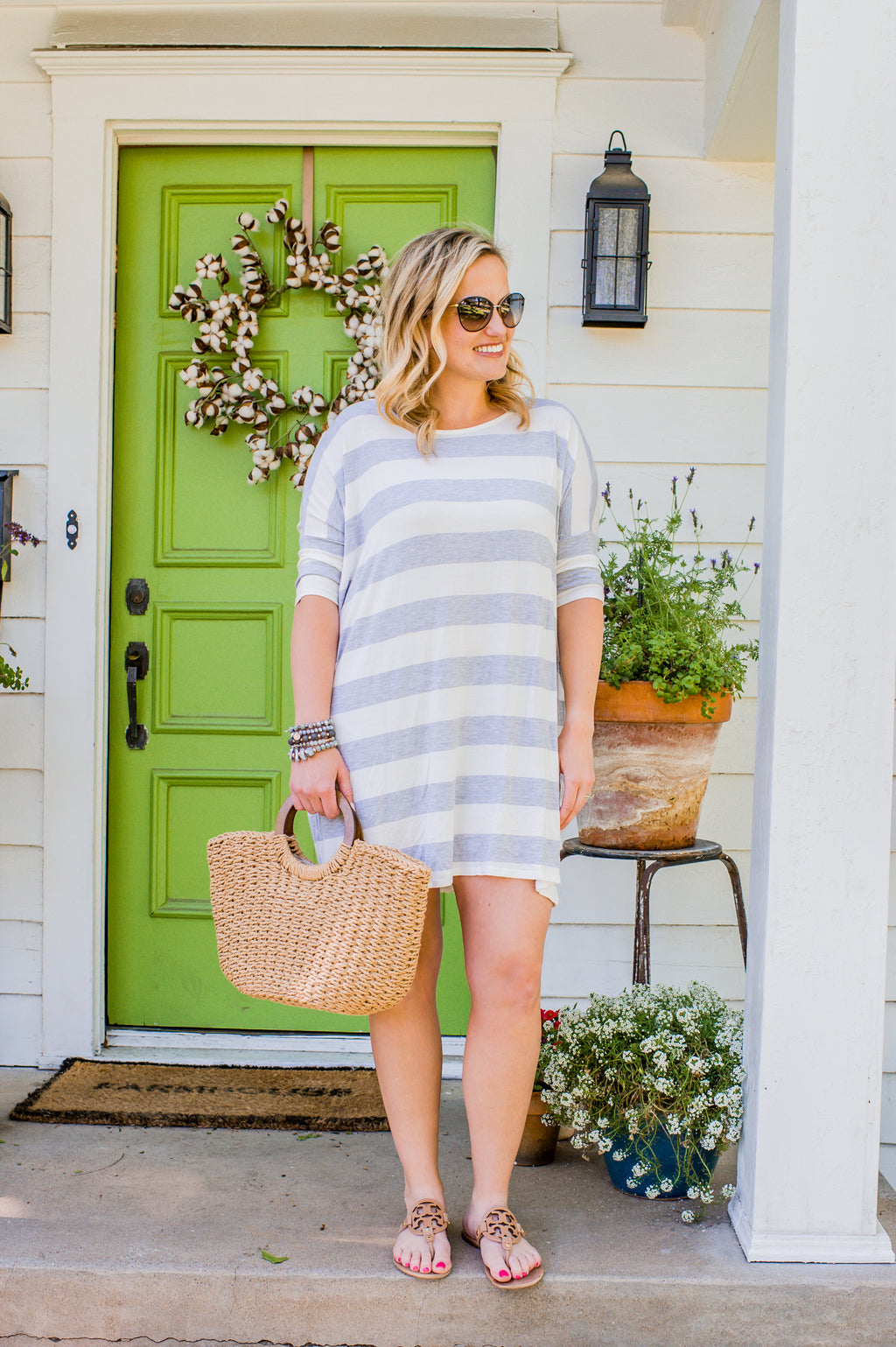 Gray Stripe Over sized Elbow Length Sleeve Tunic in
