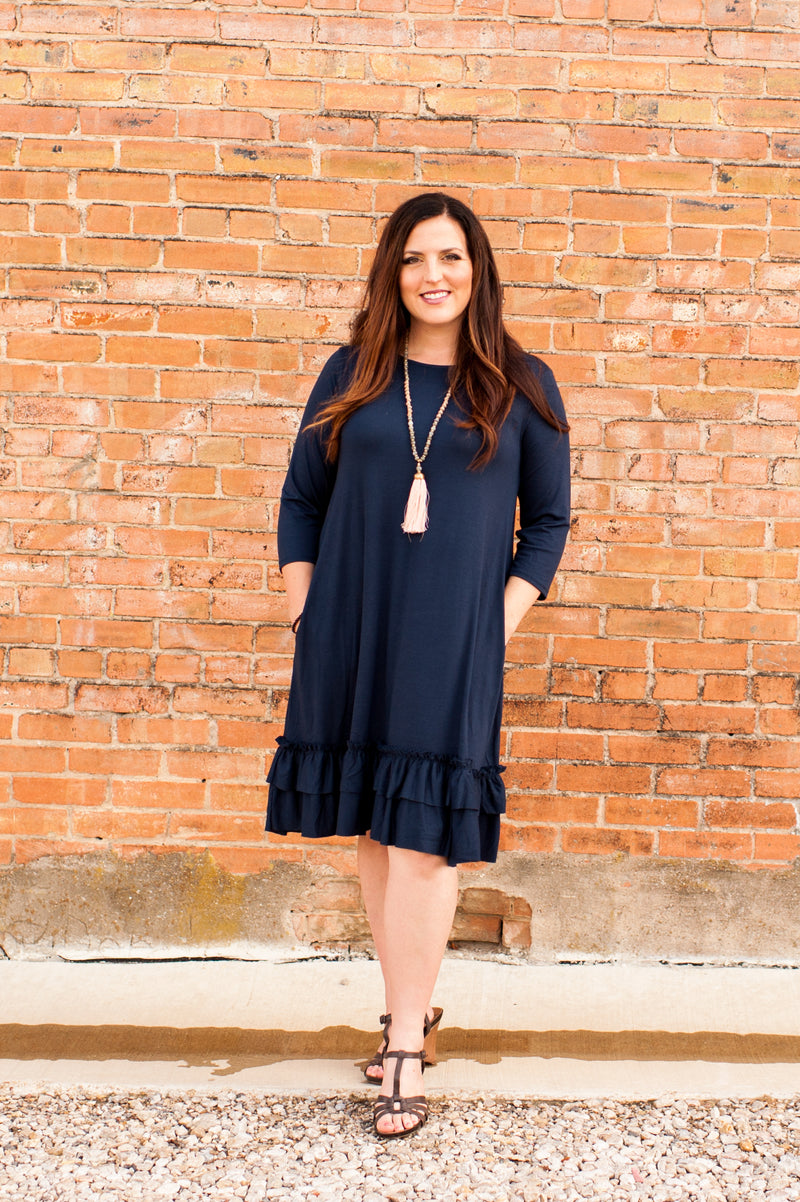Ruffle Hem Dress in Navy