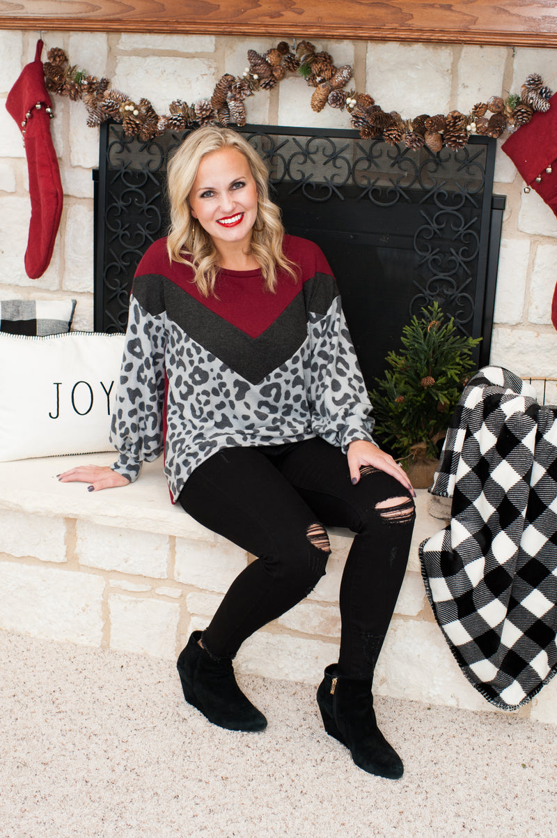 Gray Leopard and Burgandy Lightweight Sweater