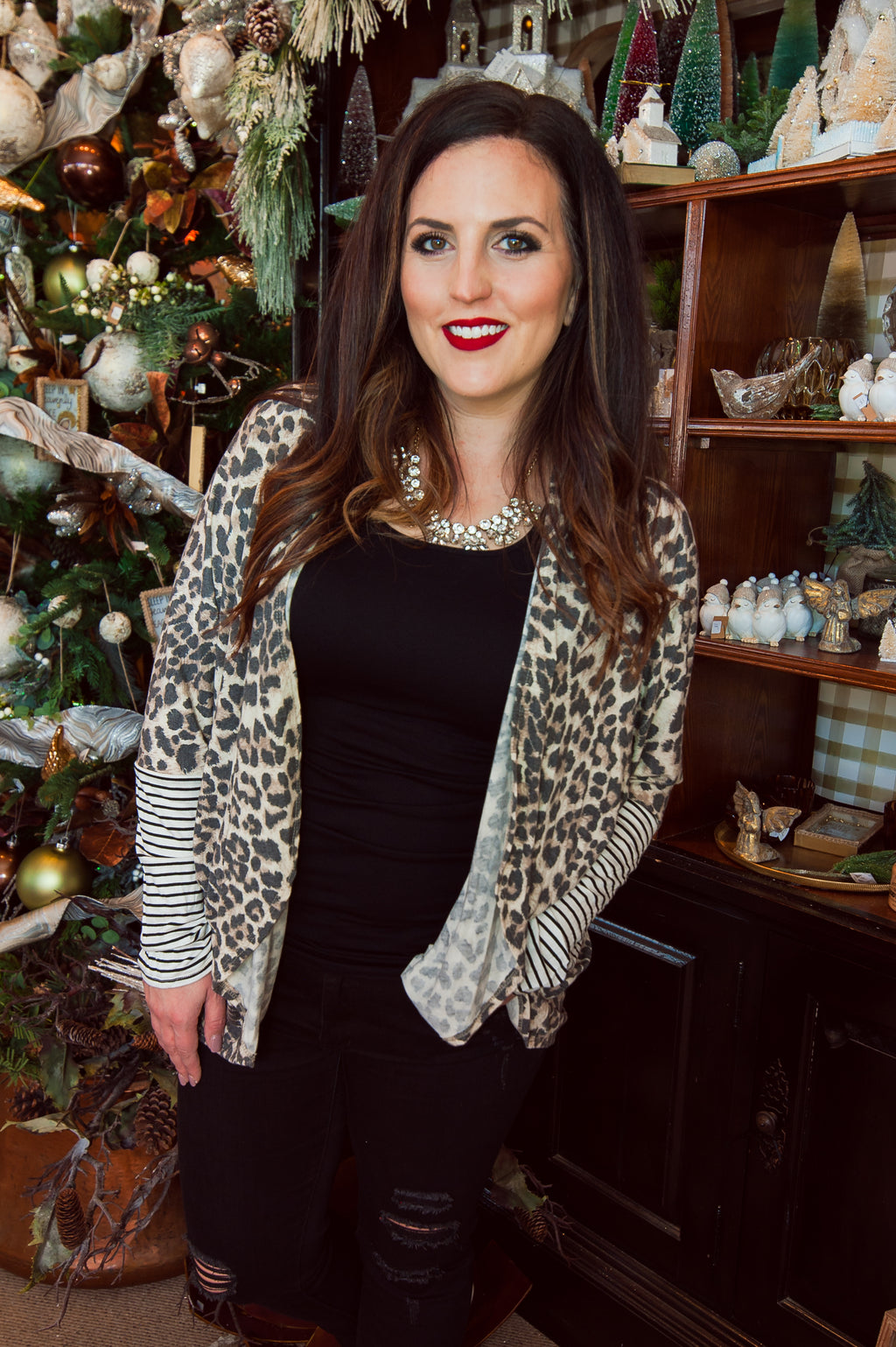 Animal and Stripe Print Cocoon Cardigan