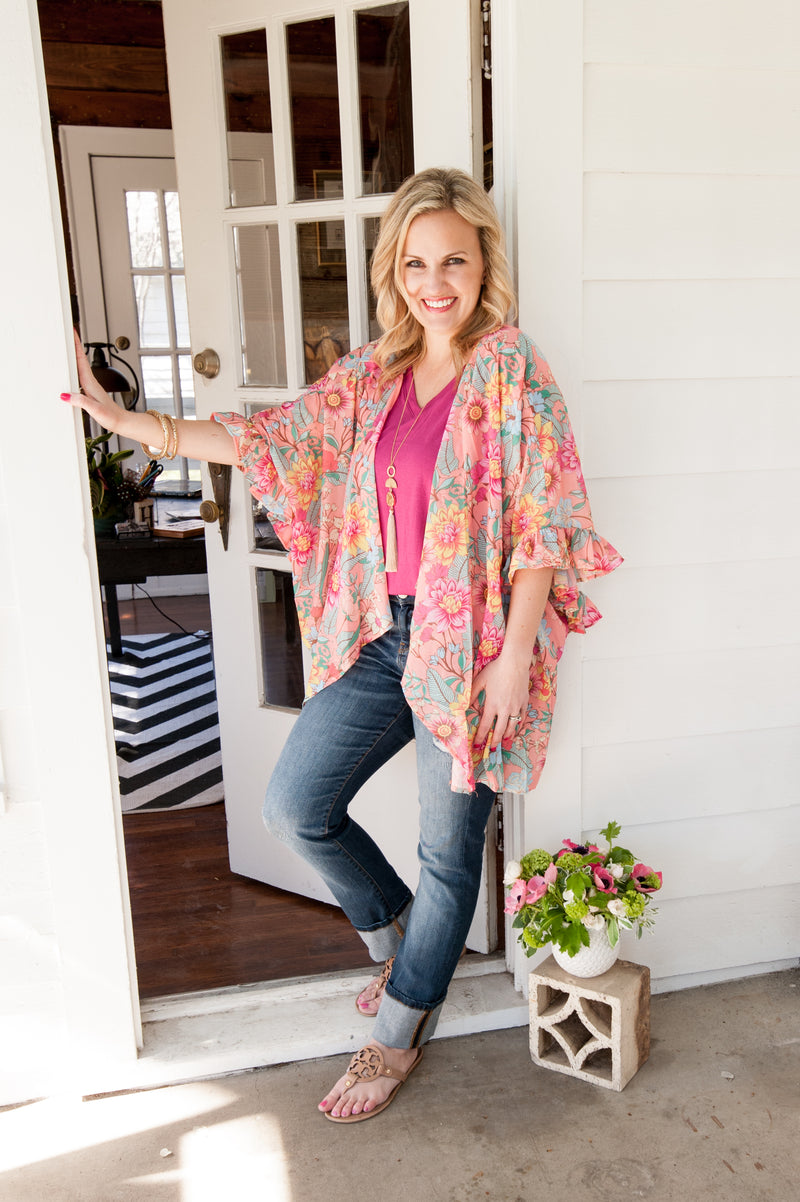Floral Kimono in Coral with Ruffled Sleeves