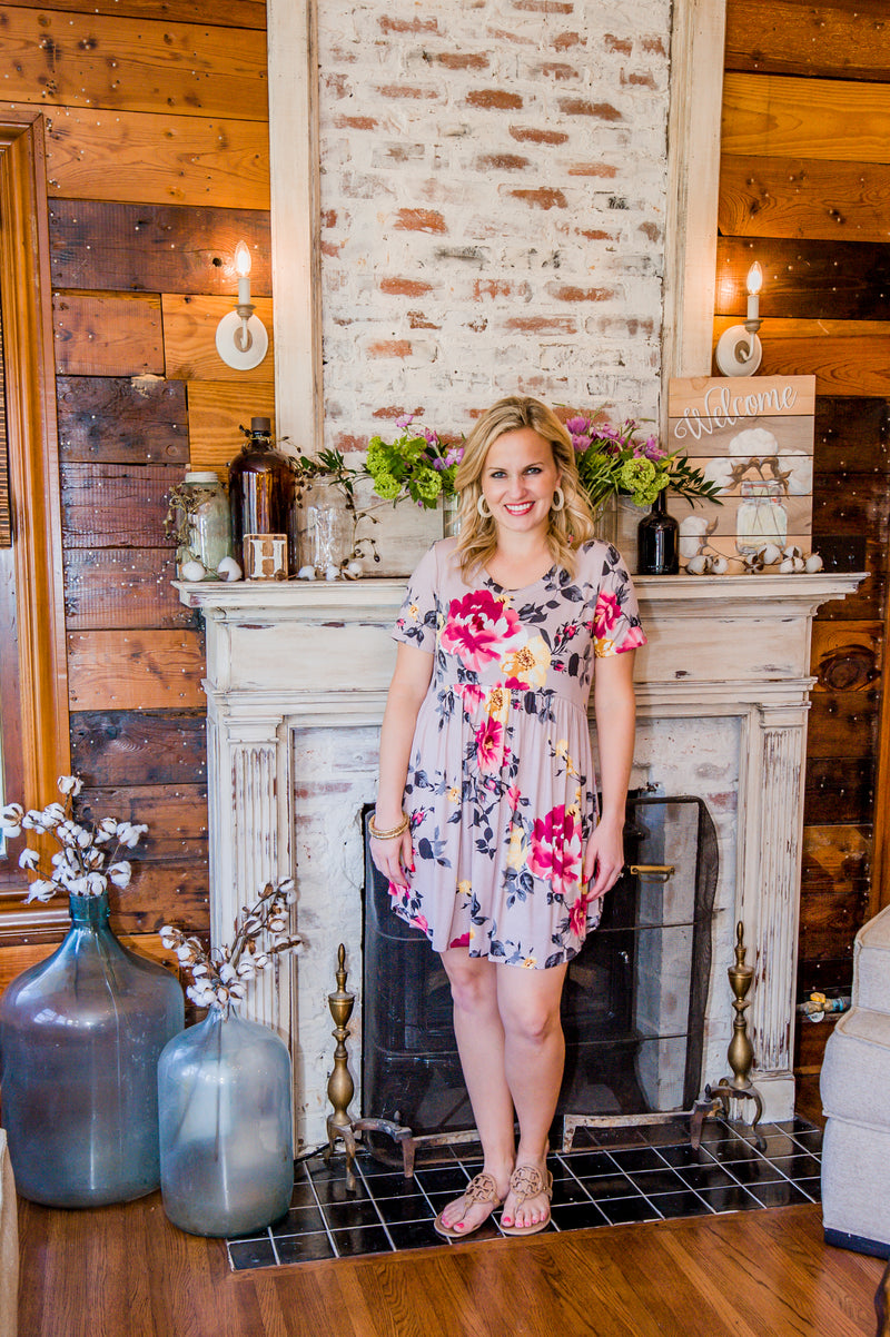 Taupe Floral Babydoll Tunic